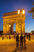 Elysees Prints - Twilight at Arc de Triomphe Print by Brian Jannsen
