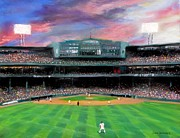 Baseball Pastels Posters - Twilight at Fenway Park Poster by Jack Skinner