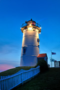 Cape Cod Lighthouses Posters - Twilight at Nobska Point Poster by Thomas Schoeller