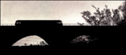 Train Drawings Originals - Twilight at the Bridge by Ciaran Shaman