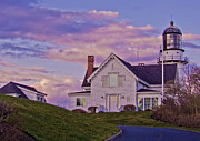 Maine Lighthouses Digital Art Prints - Twilight at the Cape Print by Mike Griffiths