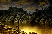 Lakeshore Digital Art - Twilight at the Lake by Ellen Lacey