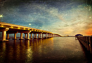 Ocean Springs Posters - Twilight Biloxi Bridge Poster by Joan McCool