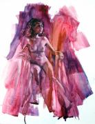 Nudes Drawings Prints - Twilight Deliberation Print by Peggi Habets
