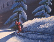 Snowboarding Paintings - Twilight Descent by Matthew Stennett