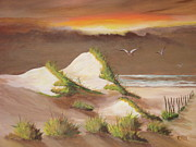 Sand Dunes Painting Framed Prints - Twilight Dunes Framed Print by Rich Fotia