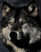 Eyes Mixed Media Metal Prints - Twilight Eyes of The Lone Wolf Metal Print by Wingsdomain Art and Photography