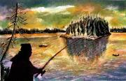 Burnt Drawings Posters - Twilight Fishing in August Poster by Ion vincent DAnu