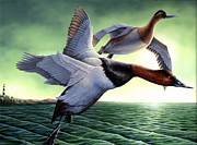 Waterfowl Paintings - Twilight Flight by Amanda Schwartz