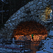 Blessed Mother Photos - Twilight Grotto Prayer by John Stephens