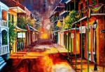 Balconies Paintings - Twilight in New Orleans by Diane Millsap