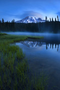 Mt Rainier Prints - Twilight Mist Rising Print by Mike  Dawson