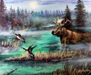 Men Art Painting Originals - Twilight Moose And Canada Geese by Patricia L Davidson