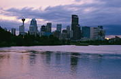 River Scenes Photos - Twilight On The Bow River And Calgary by Michael S. Lewis