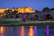 Languedoc-roussillon Posters - Twilight over Carcassonne Poster by Brian Jannsen