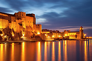 Languedoc-roussillon Posters - Twilight over Collioure Poster by Brian Jannsen