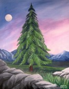 Lone Tree Painting Prints - Twilight Pine Print by Sharon Marcella Marston