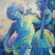 Musical Notes Painting Originals - Twilight Rhapsody - Lady Playing the Cello by Susanne Clark