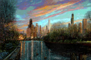 Skylines Painting Framed Prints - Twilight Serenity II Framed Print by Doug Kreuger