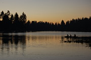Boats Pyrography Prints - Twilight Silhouette Lake Print by Stephen Sly
