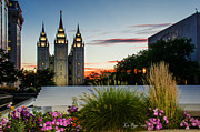 Slc Framed Prints - Twilight SLC Temple Grass Framed Print by La Rae  Roberts