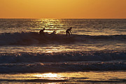 Surf Silhouette Prints - Twilight Surfing Print by Anita Megyesi
