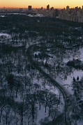 Central Park Prints - Twilight View From Above Snow-covered Print by Melissa Farlow