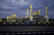 Domes Posters - Twilight View Of An Illuminated Mosque Poster by Paul Chesley
