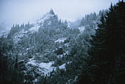 Snow Scenes Prints - Twilight View Of Olympic Mountains Print by Melissa Farlow