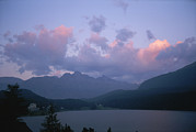 Engadin Valley Posters - Twilight View Of Saint Moritz Lake Poster by Taylor S. Kennedy