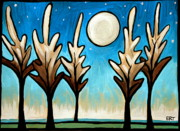 Night Glow Painting Originals - Twilight Woods by Elizabeth Robinette Tyndall