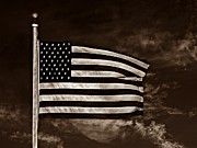 Usa Flag Mixed Media Metal Prints - Twilights Last Gleaming S Metal Print by David Dehner