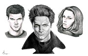 Pencil Drawings Drawings Prints - Twilite Characters Print by Murphy Elliott