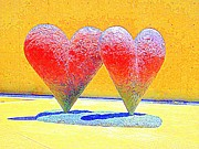 Love Sculpture Digital Art Posters - Twin 6 Hearts Poster by Randall Weidner