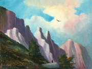 Eagle In Clouds Prints - Twin Buttes Print by Charles Yates