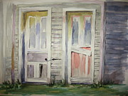 Wooden Building Painting Posters - Twin Doors Poster by Carol Mueller