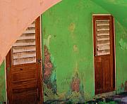 St Thomas Prints - Twin Doors Print by Debbi Granruth