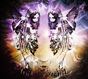 Good Luck Digital Art Posters - Twin Fairies 2 Poster by Michelle Frizzell-Thompson