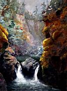 Waterfalls Paintings - Twin Falls by Bonny Roberts