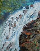 Waterfalls Paintings - Twin Falls Cascade by Bryan Alexander