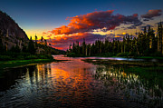 Reflection Prints - Twin Lakes Sunset Mammoth Lakes California Print by Scott McGuire