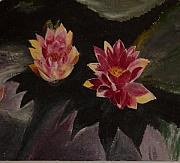 Lotuses Prints - Twin lotuses Print by Nalini  Bhat