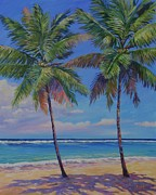 Bay Islands Painting Framed Prints - Twin Palms Framed Print by John Clark