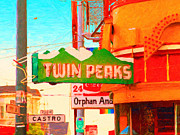 Transgender Prints - Twin Peaks Gay Bar in San Francisco . Painterly Style Print by Wingsdomain Art and Photography