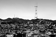 Houses Photographs Framed Prints - Twin Peaks in San Francisco . Black and White Framed Print by Wingsdomain Art and Photography