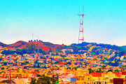 Big Cities Digital Art Prints - Twin Peaks in San Francisco Print by Wingsdomain Art and Photography