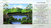 Landscape Mountain Trees Fisherman Art - Twin Ponds and 23 Psalm on White by Barbara Griffin