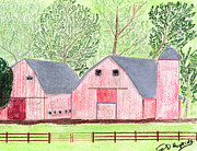 Old Barn Drawings - Twin Red Barns by John Hoppy Hopkins