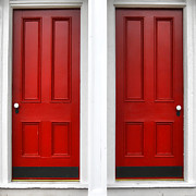 Entrance Door Photos - Twin Red Doors by Olivier Le Queinec