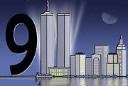 Twin Towers Trade Center Digital Art - Twin Tower Tribute by Maria Dryfhout